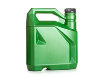 Grön plast- kanister av motorisk olja Royaltyfri Fotografi