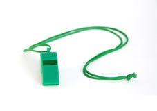 Grön plast- vissling Royaltyfri Fotografi