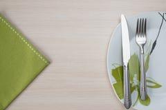 Grön platta för servettknivgaffel Arkivbild