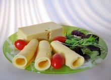 Grön platta med mat - ost, tomater, grönsallat arkivbild