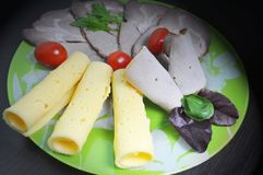 Grön platta med mat - ost, tomater, grönsallat royaltyfri bild