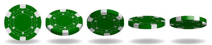 Grön poker Chips Vector realistisk uppsättning 3D Flip Different Angle stock illustrationer