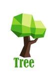 Grön polygonal trädabstrakt begreppsymbol Fotografering för Bildbyråer