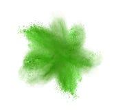 Grön pulverexplosion som isoleras på vit Royaltyfri Fotografi