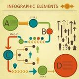Grön röd infographicselemetnssamling Arkivbilder