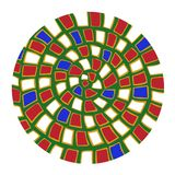 Grön röd vit mandala för krullningsjapanisticsstil vektor illustrationer