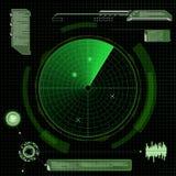 Grön radar för militär Skärm med målet Futuristisk HUD interfa royaltyfri illustrationer
