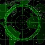 Grön radarskärm över översikten av världen royaltyfri illustrationer