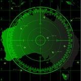 Grön radarskärm över det australiska territoriet royaltyfri illustrationer