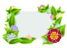 Grön ram med blommor Royaltyfri Foto