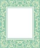Grön ram med tappningprydnaden Royaltyfri Fotografi