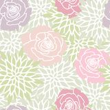 Grön rodnad rosa Rose Floral Seamless Pattern royaltyfri illustrationer