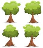 Grön rolig träduppsättning vektor illustrationer