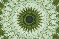 Grön rund etnisk prydnad vektor illustrationer