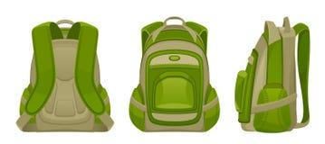 Grön ryggsäck royaltyfri illustrationer