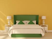 Grön säng på en gul bakgrund stock illustrationer