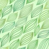 Grön sömlös modell med stiliserade sidor Royaltyfri Illustrationer