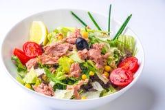 Grön sallad med havsmatingredienser Royaltyfria Bilder
