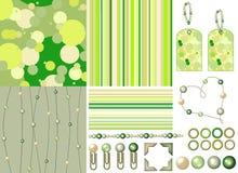 grön satsscrapbook för pärlor royaltyfri illustrationer