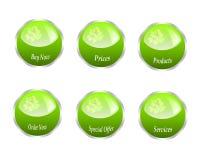 grön serierengöringsduk för knappar Royaltyfri Fotografi