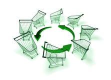 grön shopping Fotografering för Bildbyråer