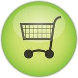 grön shoppingtrolley för knapp Arkivfoton