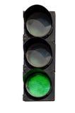 Grön signal av trafikljuset Arkivfoton