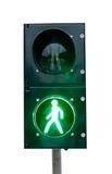 Grön signalering av ett trafikljus royaltyfria bilder