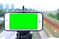 grön skärmsmartphone Arkivbild