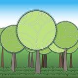 Grön skog för Stylization Arkivbild