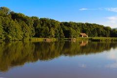 Grön skog reflekterad i sjön Royaltyfri Foto