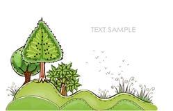 Grön skogbakgrund, lycklig världssamling Arkivbild