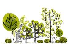 Grön skogteckningsvektor Royaltyfri Illustrationer