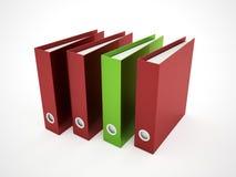 Grön skrivbok som är röd och Royaltyfri Foto