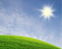 grön sky för fält Arkivfoto