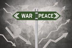 Grön skylt med beslut av kriget eller fred stock illustrationer
