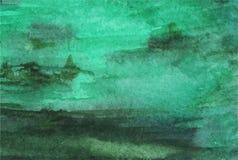 Grön smaragdbakgrund för vattenfärg Royaltyfria Bilder