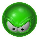 Grön smiley för ondska Royaltyfri Bild