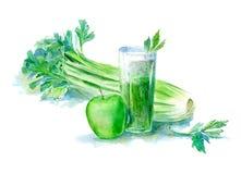 Grön smoothie för frukt och för grönsak Arkivfoto