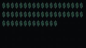 Grön snabb maskinskrivning för dollartecken på den gamla ledde öglan för bakgrund för lcd-skärmanimering - nya kvalitets- retro t arkivfilmer