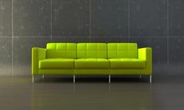 grön sofa Fotografering för Bildbyråer