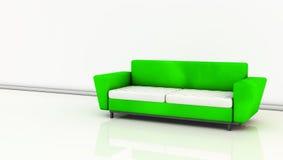 Grön sofa i 3d Royaltyfria Bilder