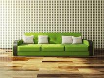 Grön soffa Arkivbild