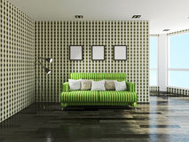 Grön soffa Royaltyfri Bild