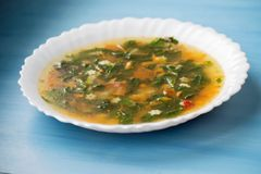 Grön soppa med syra och nässlan i en vit platta Rysk traditionell nässlasoppa royaltyfria foton
