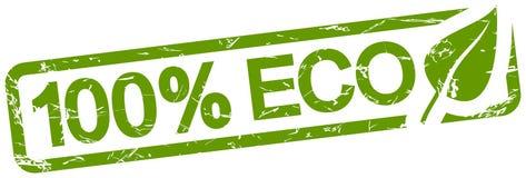grön stämpel med text 100% ECO royaltyfri illustrationer