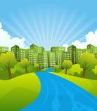 Grön stad i sommar Tid Arkivfoto