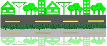 Grön stad med vägen Arkivfoton