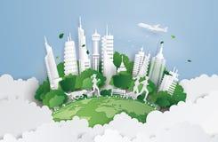 Grön stad på himlen stock illustrationer