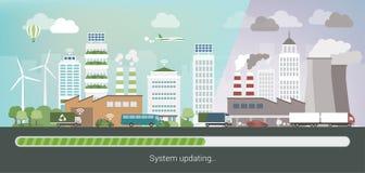 Grön stad som uppdaterar upp royaltyfri illustrationer